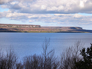 South Bruce Peninsula - The Malcolm Bluff near Purple Valley, as seen across Colpoy's Bay