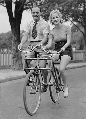 Malvern Star - Image: Man and woman on a Malvern Star abreast tandem bicycle, c. 1930s, by Sam Hood
