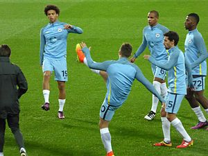 2016–17 Manchester City F.C. season - City players warming up before the Manchester derby in the EFL Cup, October 2016