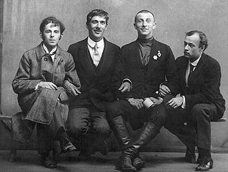 Osip Mandelstam - Silver Age poets Mandelstam, Chukovsky, Livshits and Annenkov in 1914. Photo of Karl Bulla