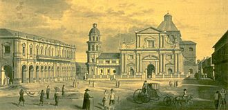 Intramuros - The sketch of the Plaza de Roma Manila by Fernando Brambila, a member of the Malaspina Expedition during their stop in Manila in 1792