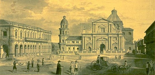 The plaza, or city square, of Manila, Philippines Manila Cathedral (1792) by Brambila.jpg
