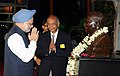 Manmohan Singh paying homage at the statue of Prof. Magnath Saha during his visit at the Closing Ceremony of 1st Diamond Jubilee Year of the Saha Institute of Nuclear Physics, in Kolkata on August 21, 2011.jpg