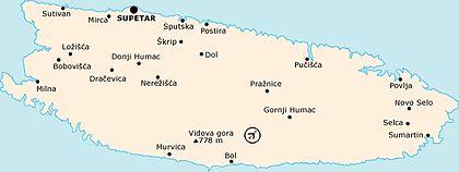 Karte Insel Brac