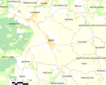 Map of the commune of Nérac