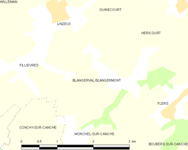 Mapa obce Blangerval-Blangermont
