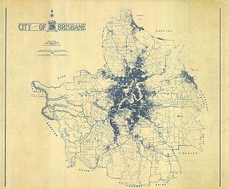 City of Brisbane - Map of Brisbane at time of amalgamation