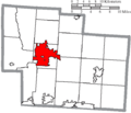 Map of Delaware County Ohio Highlighting Delaware City.png