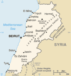 Map o Lebanon frae the CIA World Factbook. Tyre is near the soothren border