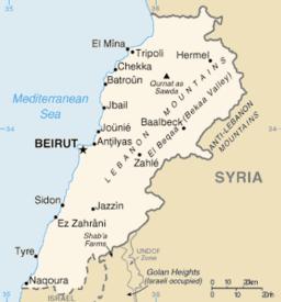 Beiruts beliggenhed i Libanon