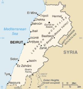 Kaart van Libanon