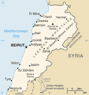 2008 conflict in Lebanon - Map of Lebanon