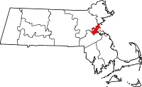 Map of Massachusetts highlighting Suffolk County