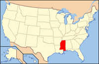 Map of the U.S. highlighting Міссісіпі
