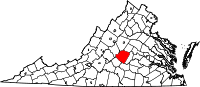 Map of Virginia highlighting Buckingham County