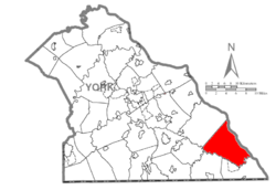 Map of York County, Pennsylvania highlighting Lower Chanceford Township