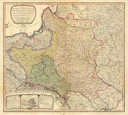 """A map of the Kingdom of Poland and the Grand Duchy of Lithuania including Samogitia and Curland divided according to their dismemberments with the Kingdom of Prussia"" from 1799 Map of the partition of the Kingdom of Poland and the Grand Duchy of Lithuania from 1799.jpg"