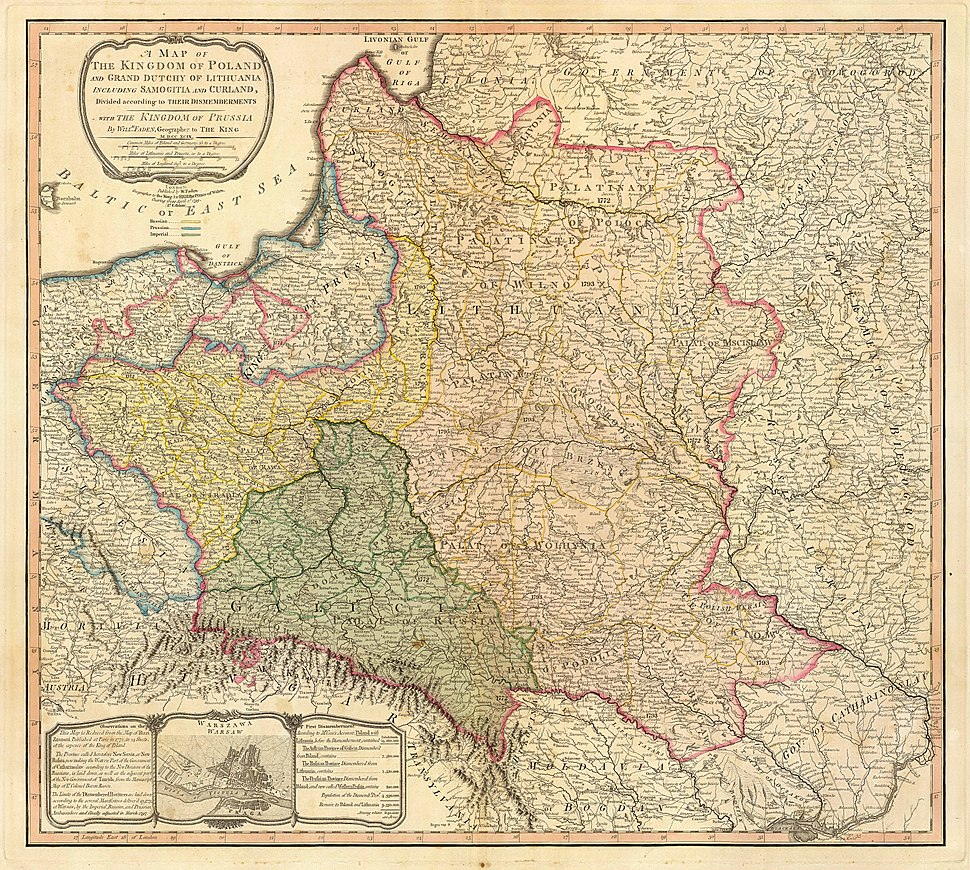 Map of the partition of the Kingdom of Poland and the Grand Duchy of Lithuania from 1799