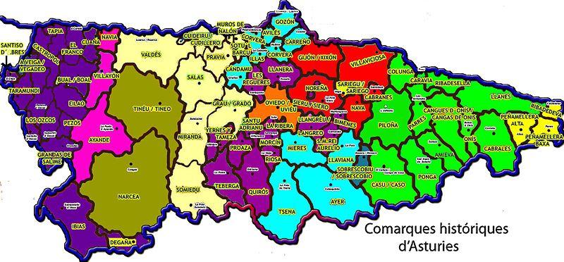 Mapa De Asturias Concejos.Comarcas Historicas De Asturias Wikiwand