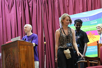 The Week (Indian magazine) - Oxford mathematician Marcus du Sautoy (in purple shirt) at The Week Hay Festival 2010