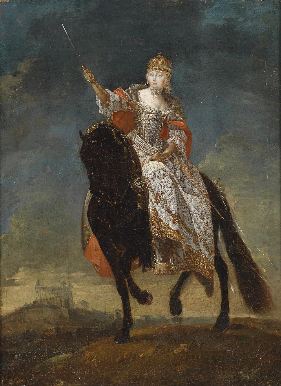 Maria Theresia als Königin von Ungarn zu Pferde