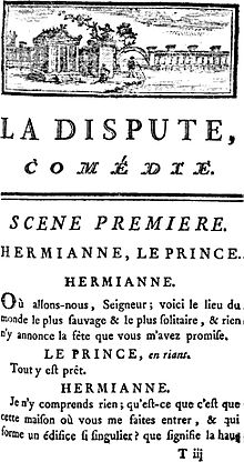 Front page of 1744 Edition of La Dispute