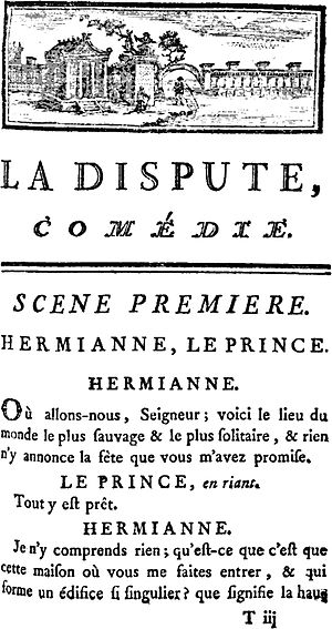 La Dispute - Front page of 1744 Edition of La Dispute