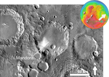 Martian impact crater Mandora based on day THEMIS.png