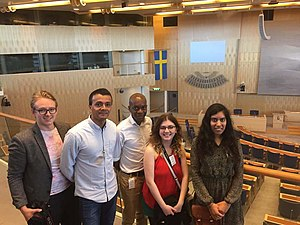 Young Fabians -  Young Fabians International Network at the Riksdag with delegates Ian Kugler, Rayhan Haque, Martin Edobor, Rachel Ward and Unsa chaudri