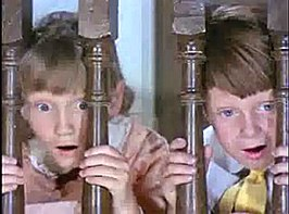 Matthew Garber (r) met Karen Dotrice in Mary Poppins