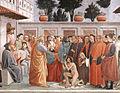 Masaccio - Raising of the Son of Theophilus crop.JPG