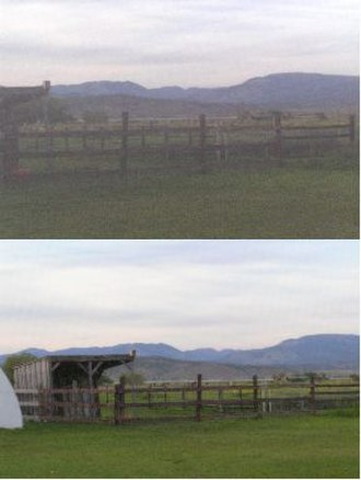 Fly mask - Top photo shows camera view through a mesh fly mask, bottom photo is view without mask. Horses can see through the mesh with minimal impairment. Masks are often removed at night