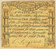 Massachusetts 12 pence 1776 front