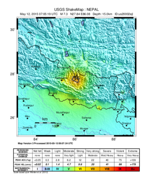 May 2015 Nepal earthquake - Image: May 2015 Nepal earthquake Shake Map version 3