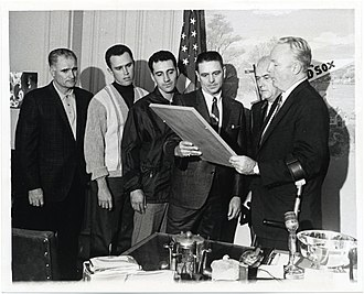 Dick Williams - Williams (fourth from left) and other Red Sox personnel with Mayor of Boston John F. Collins (at right) in October 1967