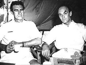 Alan McNicoll - McNicoll with Captain Hutchison of the Royal Navy in October 1952. Both men were liaison officers to the British atomic tests on the Monte Bello Islands.