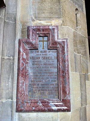 William Biddell - Memorial to William Biddell JP, MP, in St Peter and St Paul's Church, Lavenham, Suffolk