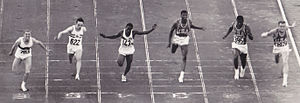 Armin Hary - 100 m final in the 1960 Olympics. Hary is on the far left in Lane 6.