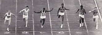Dave Sime - 100 m final photo finish at the 1960 Olympics; Sime is at the far right