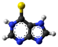 Mercaptopurine zwitterion ball from xtal.png