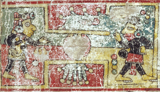 Codex Colombino - Extract of the page 2 of the codex Colombino, depicting a mesoamerican ballgame play.