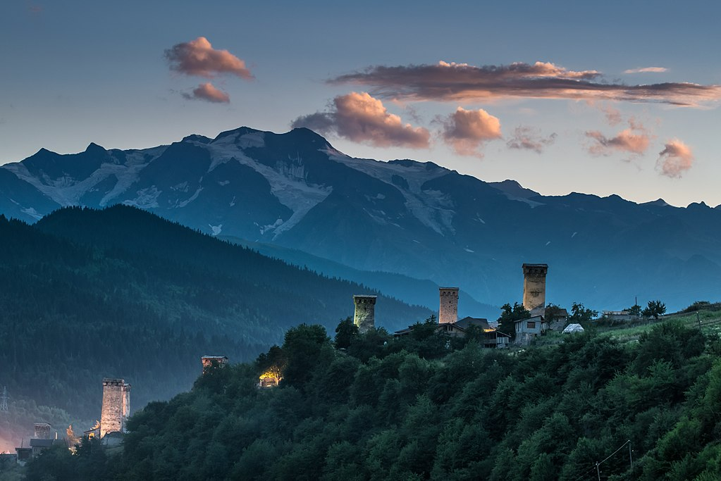 Svaneti towers in Mestia, Georgia.