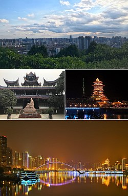 Clockwise from top: The view of Mianyang City from Fule Park, Yuewang Mansion at night, Night scene along Fujiang River in Mianyang City, Ziyun Pavilion in Xishan Park of Mianyang