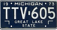 Michigan 1973 license plate - Number TTV-605.jpg