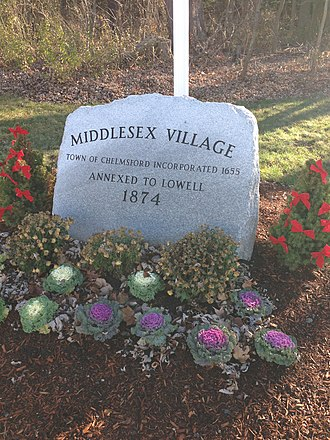 History of Lowell, Massachusetts - Middlesex Village Marker- Annexed from Chelmsford in 1874.