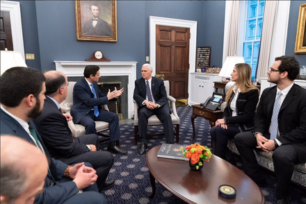 Mike Pence meets with Carlos Vecchio, Julio Borges, and other Washington-based Venezuelan representatives on 29 January 2019 Mike Pence meets with Carlos Vecchio, Julio Borges y Venezuelan gov't in exile.png