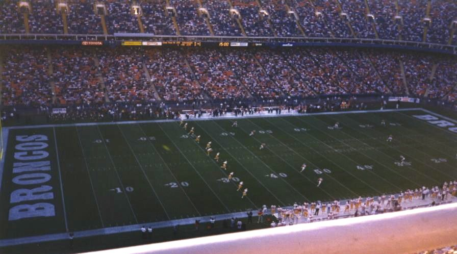 Mile High Stadium during a Broncos game on September 15, 1996