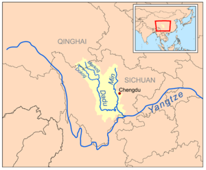 Min River (Sichuan) - Map of the Min River drainage basin