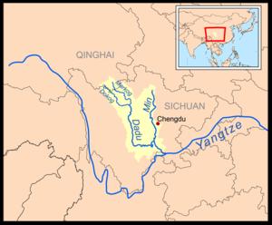 Dadu River (Sichuan) - Image: Min sichuan rivermap