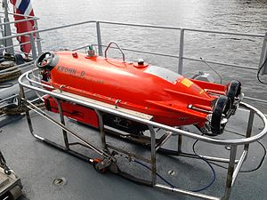 Autonomous underwater vehicle - Pluto Plus AUV for underwater mine identification and destruction. From Norwegian minehunter KNM Hinnøy